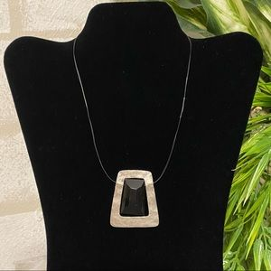 CHICO'S Hammered Silver Modern Geometric Necklace